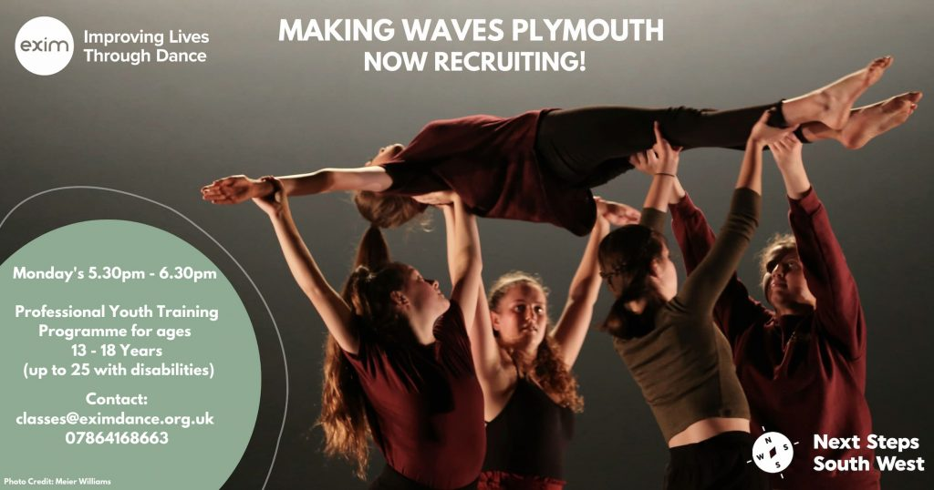 Description: A Poster promoting weekly sessions for Making Waves - 4 people, looking up holding 1 person who is in a lift facing upwards on their back with stretched arms out to the side. They are wearing dark colours - red, black and green. The text in the image is information about classes - this is covered in the post above.