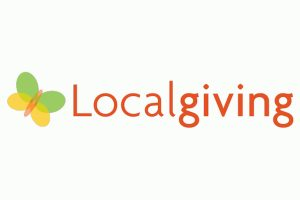 Localgiving logo - orange text with a yellow and green butterfly to the left of it.