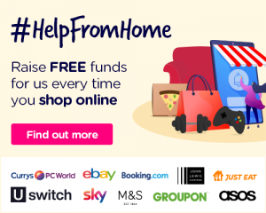 Easyfundraising promotion material text: #HelpFromHome Raise FREE funds for us every time you shop online. In the image there is a picture of lots of shopping bags.