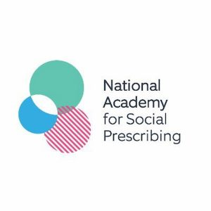 A logo for National Academy for Social Prescribing. On the left a green circle, overlapping a blue circle a nautical red and white striped circle with the words National Academy for Social Prescribing on the right.