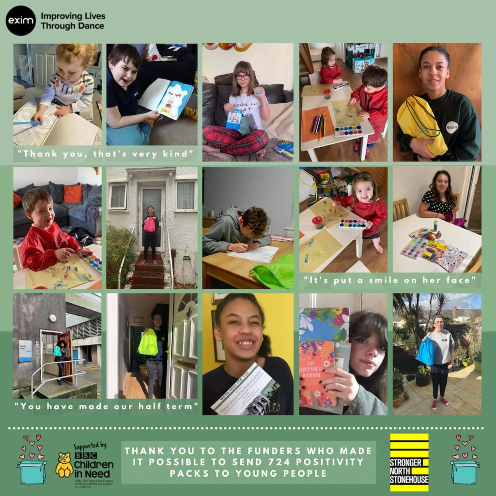 The background is 3 different shades of green. A collage of 15 young people all using the positivity packs that we have sent out during February.