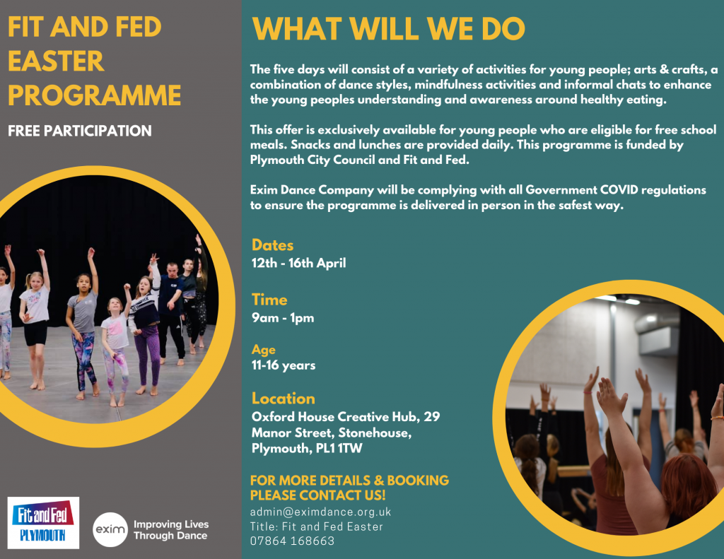 Description: A poster with a green and grey background, showing images in a circle frame of young people who attend our sessions stretching with their arms raised in the air. The text in the post is information about our 'Fit and Fed' programme.
