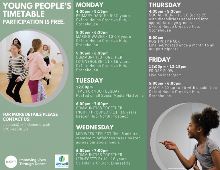 Description: A poster promoting young people classes for face to face classes. The poster is split into three sections (L-R) light green background, green background and grey background with white text. On the left there is a photo of 4 people running warming up for class. In the bottom picture we have a young person in class pointing to the left, whilst smiling as they are talking to someone - wearing a grey Exim t-shirt.